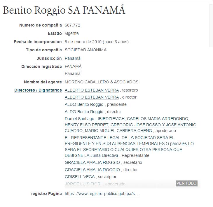 EL EMPRESARIO ALDO ROGGIO TIENE CUATRO EMPRESAS OFFSHORE EN PANAMÁ.odt
