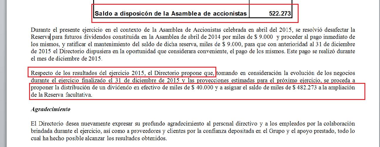 Imagen: Decisión del Directorio de Mirgor respecto a las ganancias del 2015. Fuente Balance Mirgor 2015.